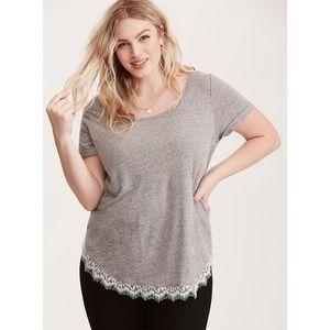 Torrid Lace Trim Tee Shirt Size 2 (2X)